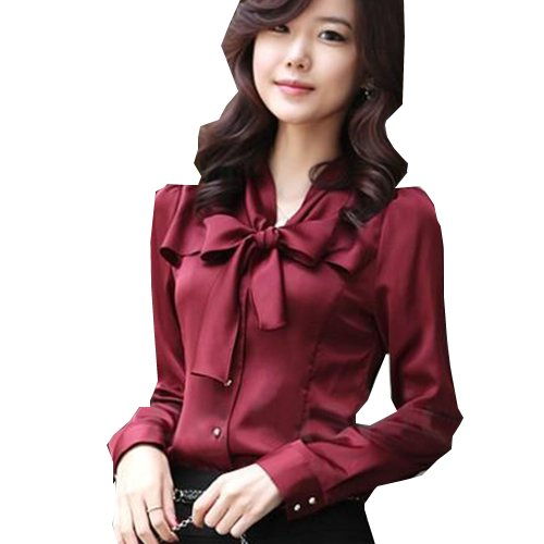 Zeagoo Women's Long Sleeve Bowknot Vintage OL Blouse X-Large Wine Red