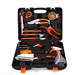 HENUO 12 Piece Garden Tool Set, with Secateurs, Pruning Saw, Trowel Pruners, Rakes - Gardening Kit Gift for Children Women & Men