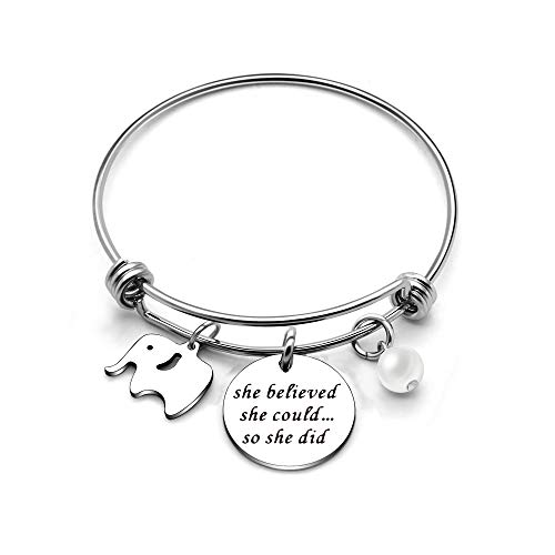 (CAROMAY Girls Bangle Bracelets Women Adjustable Elephant Graduation Inspiration Gift for Friends Sisters Her Birthday )