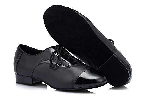 Ballroom Inches Latin Modern 2 Wedding Shoes Lace Toe Dance up TDA 2' Closed Leather Womens 5cm Salsa Tango Black 4q7x8wCY8