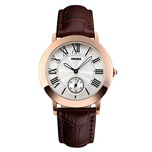 Women Quartz Watch 30 Meters Waterproof Wrist Business Casual Watch Roman Numeral Couples Watch with Date Function with Genuine Leather Band (Coffee)