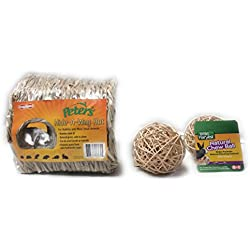 Small Animal Woven Grass Hideaway Hut with 2 Natural Chew Balls