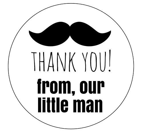 Set of 12 Thank You Mustache Stickers