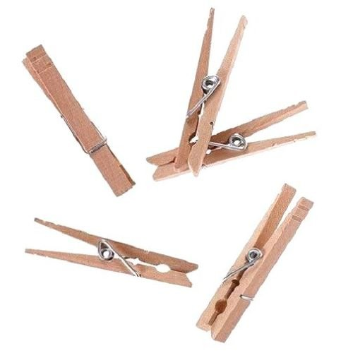 30 Spring Clip Wood Clothes Pins 3-1/4'' long and 3/4'' wide Long Crafts, Clothespins Decorative, Wooden Clothespins