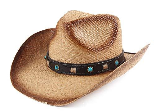 (Melesh Adult Sun Straw Western Cowboy Hat (Raffia B))
