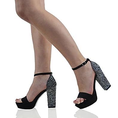 Amazon.com   Essex Glam Womens Platform Block Glitter Heel