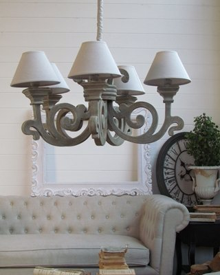 Art.CH44 Lampadario grey shabby chic a cinque luci: Amazon.it ...