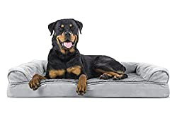 FurHaven Orthopedic Ultra Plush & Velvet Sofa-Style Couch Pet Bed for Dogs and Cats, Gray, Jumbo