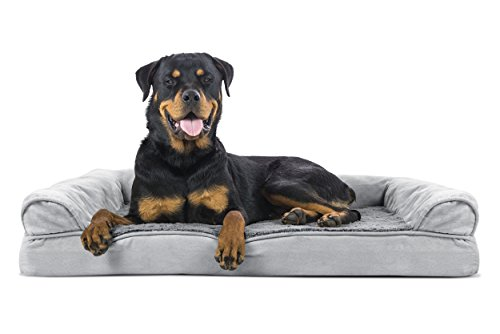 FurHaven Ultra Plush/Velvet Orthopedic Dog Couch Sofa Bed for Dogs and Cats, Plush Gray, Jumbo Dog Beds Orthopedic Beds