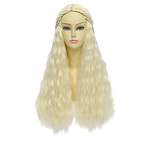 Glam Hobby Cosplay Costume Wig For Game Of Thrones Daenerys Targaryen Khaleesi Long Wave Hair Wigs (Biege)