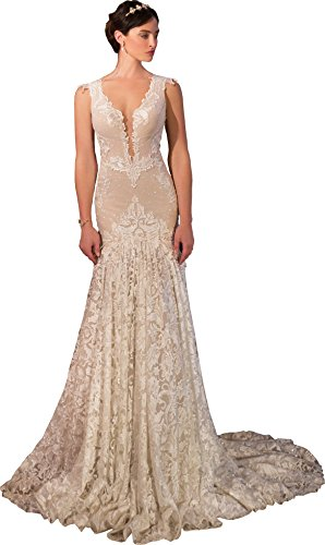 Newdeve Lace Backless V-Neck Ivory Long Wedding Dresses Sleeveless (12) from New Deve
