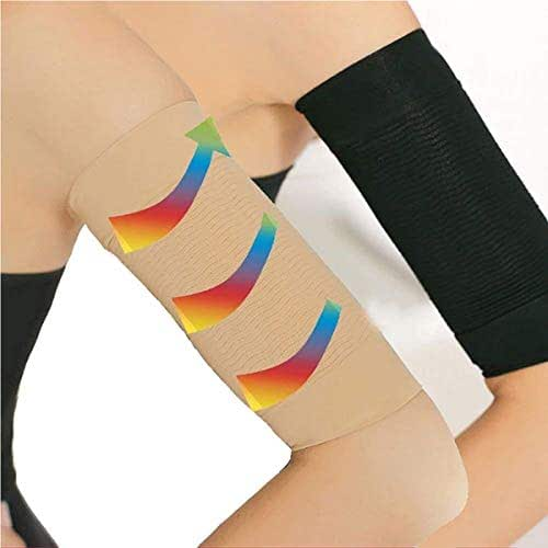 2 Pair Elastic Compression Arm Sleeves Women Weight Loss Calories Slimming Arm Shaper Massager Arm Belt Slimming Compression Arm Shaper Helps Shape Upper Arms Sleeve for Sport Fitness, Black + Nude