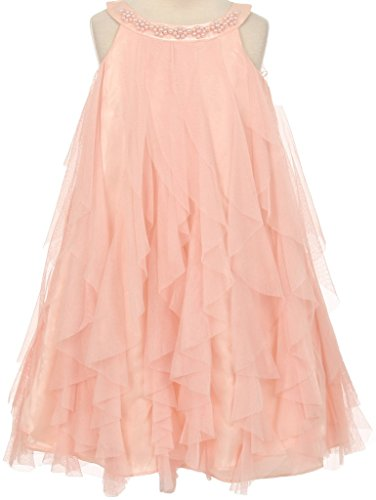 Pearl Beading Neckline Ruffle Big Girl Special Flower Girl Dresses Blush - Mall Burlington