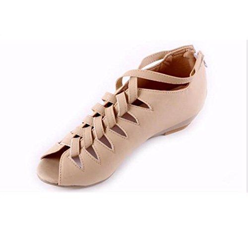 AIURBAG Mujer Zapatos PU Primavera Verano Confort Tacones Tacón Cuña Punta abierta Para Casual Blanco Negro Almendra
