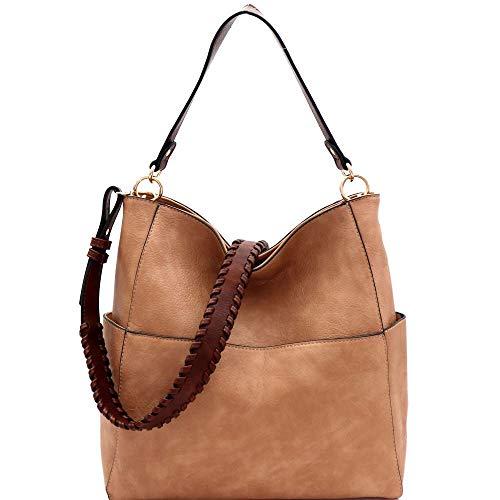 Whipstitched Strap Multi-Pocket PU Leather Hobo Purse Bag (Boho Hobo)