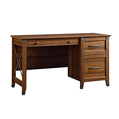 Sauder Carson Forge Desk, Washington Cherry finish - Three drawers with metal runners and safety stops Lower drawer holds letter-size hanging files Wrought iron style hardware and accents - writing-desks, living-room-furniture, living-room - 41BbhbhJfAL. SS400  -