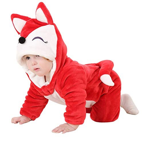 PAUBOLI Fox Costume Infant Red Fox Romper Flannel Onesie Hooded Fox Halloween Costume (12-18 Months, -