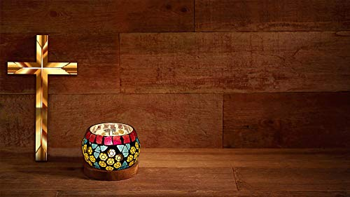 Hare Krishna Lighting Decorative Mosaic Glass Round Table Candle Holder Tea Light (Multi) 3 Inch - Multi Tealight Holder