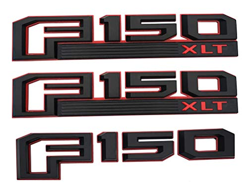 3Pcs OEM F150 XLT Side Fender Emblem,3D Snap Type Badge Nameplate Stickers Replacement for 15-17 Ford F-150 Original size (Black red) ()