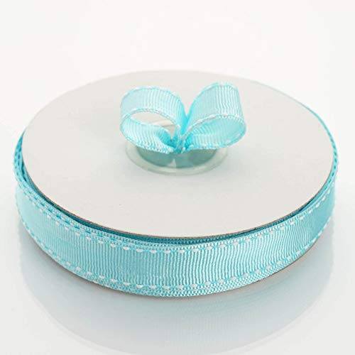 """Tableclothsfactory 5/8"""" Grosgrain Ribbon with Stitched Edges-Turquoise"""