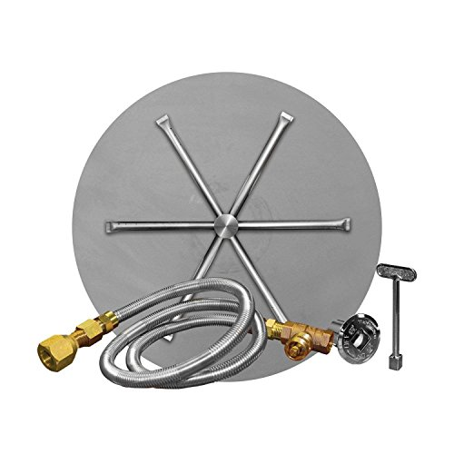 Firegear Match Light Gas Fire Pit Burner Kit (FPB-34DBS31MT-N), Round Flat Pan, Natural Gas, 34-inch ()