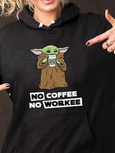 Women Baby Yoda Lovely No Coffee No Workee Canvas Unisex Tee For Men