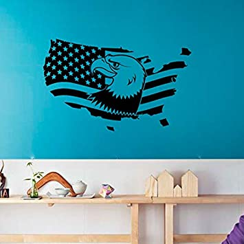 Mapa Americano Con Pájaro Nacional Etiqueta de Vinilo Patriotic ...