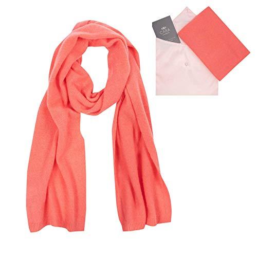 Cashmere Knit Scarf - Cara Cashmere Cashmere Scarf for Women - 100% Pure Luxury Knit - Lightweight, Ultra Soft, Warm - Beautiful Silk Keepsake Gift Bag, Coral, Medium