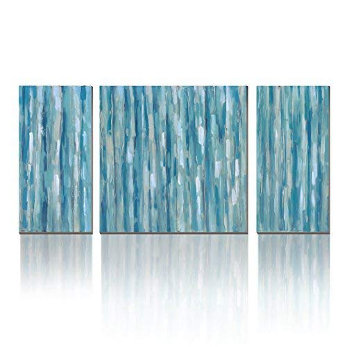 3Hdeko - Teal Abstract Wall Art Aqua Blue Stripes Painting Print on Canvas - Modern 3 Pieces Turquoise Wall Decor for Living Room Bedroom Dining Room Bathroom, Ready to Hang (Renewed) ()