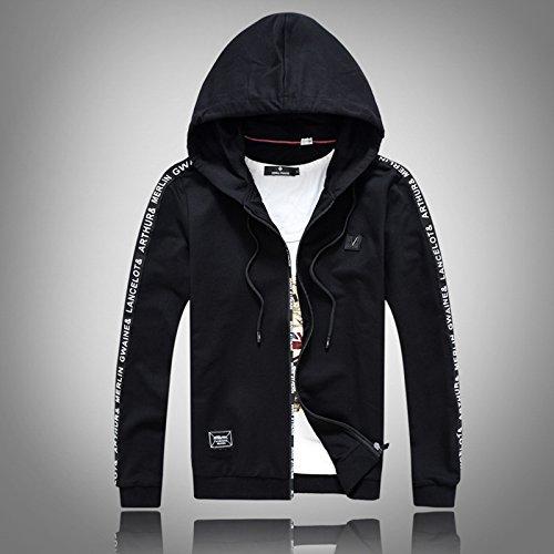 Cappuccio Versione Minimalista Sau Maglione Zipper Uomo Coreana Nero Pullover Sport Moda Serie La Di felpa L Con 0HSqq