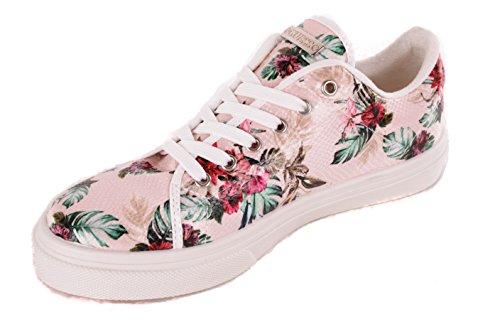 Guess Women's Sneaker Lace Up Flower Pattern Rosa 9XR47Oh5n