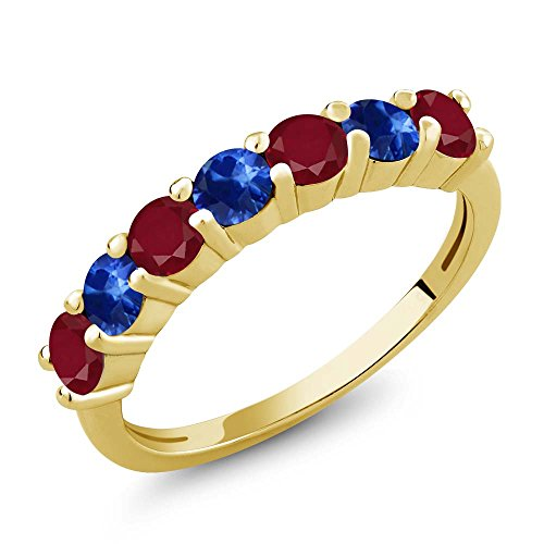(Gem Stone King 1.60 Ct Round Red Ruby Blue Sapphire 18K Yellow Gold Plated Silver Anniversary Ring (Size 9))