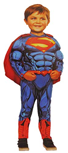 Superman Muscle Chest Costume with Cape. 3T - 4T -