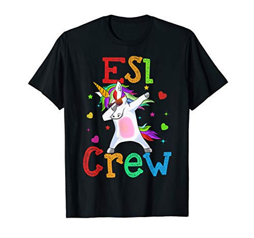 Dabbing Esl Crew Unicorn T-Shirt 1st day Of School -