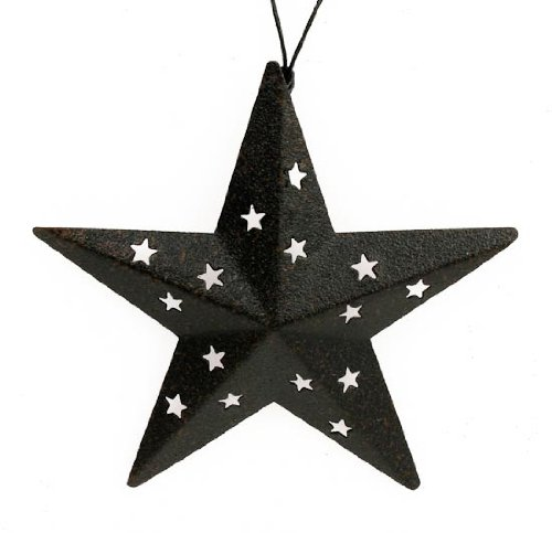 4 Inch Mini Black Primitive Barn Star Ornaments with Star Cutouts- Set of 12