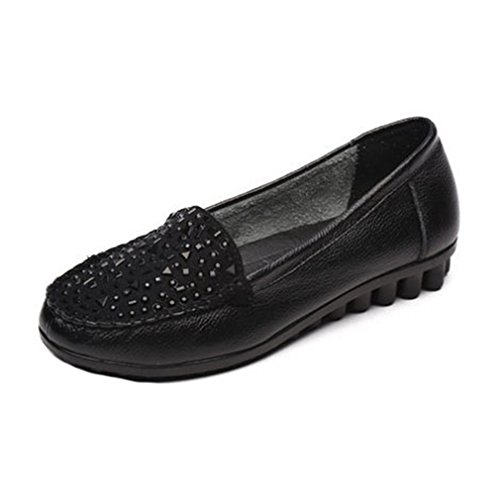 Giy Donna Casual Mocassini Mocassini Appartamenti Comfort Slip-on Dress Penny Classico Mocassino Driving Shoes Nero