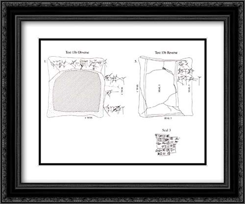 Neo-Sumerian Culture - 24x20 Black Ornate Frame and Double Matted Museum Art Print - Cuneiform Tablet case Impressed with Cylinder Seal, for Cuneiform Tablet 11.217.7a: Record of The Account of Bamu