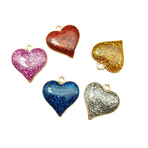 SANQIU 30PCS Mixed Color Enamel Heart Charm for Jewelry Making and Crafting