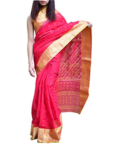 GiftPiper Bengali Tant Saree with Booti Motifs (Red & Yellow)