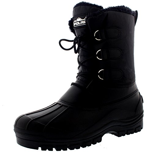 POLAR Mens Muck Lace Up Short Nylon Winter Snow Rain Lace Up Casual Duck Boots - 8 - BLK41 YC0141 (Men Boots Snow 8 Size)