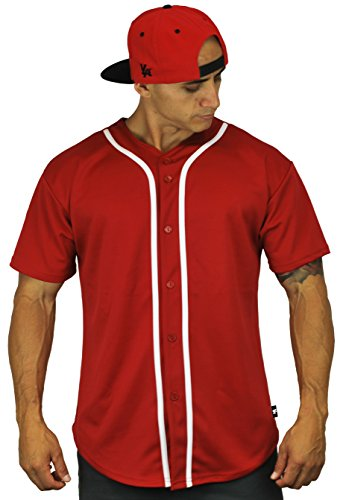 Button Down Jersey (Baseball Jersey T-Shirts Plain Button Down Red S)