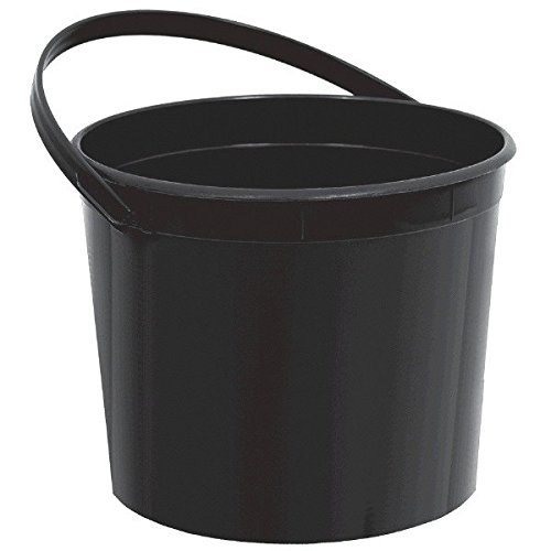 Plain Birthday Party Favor Bucket, 1 Pieces, Made from Plastic, Black, 6 1/4