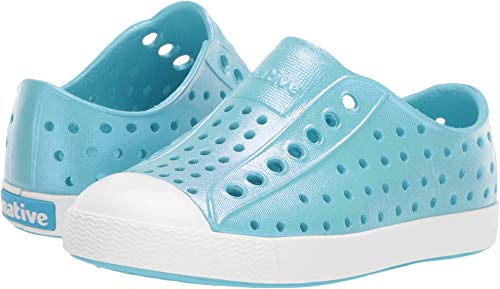 Native Kids Shoes Baby Girl's Jefferson Iridescent (Toddler/Little Kid) Hamachi Blue/Shell White/Galaxy Iridescent 12 M US Little Kid