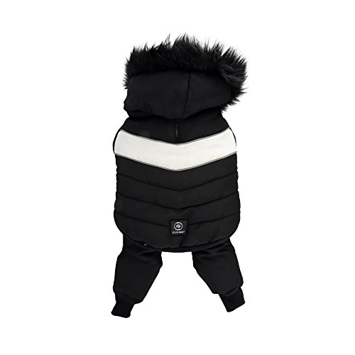 Silver Paw 2 Piece Hooded Snowsuit, Medium, Black