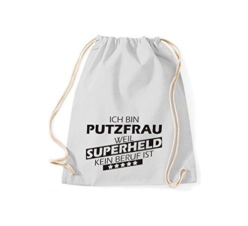 Shirtstown Bolsa de gimnasio Estoy Señora de la limpieza, weil Superheld sin Trabajo ist - tuerkis, 37 cm x 46 cm gris claro