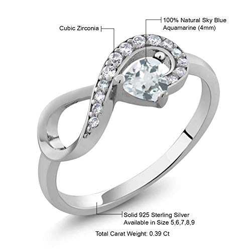 Gem Stone King 925 Sterling Silver Heart Shape Sky Blue Aquamarine Women's Infinity Ring (0.39 Cttw, Available 5,6,7,8,9)