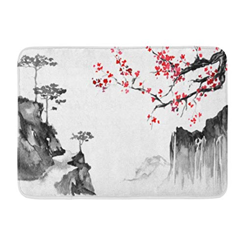 (Japanese Art,Darkchocl Decorative Bath Mat Japan Traditional Painting Indian Ink Absorbent Non Slip 100% Flannel 17''L x 24''W for Bathroom Toilet Bath Tub Living Room)