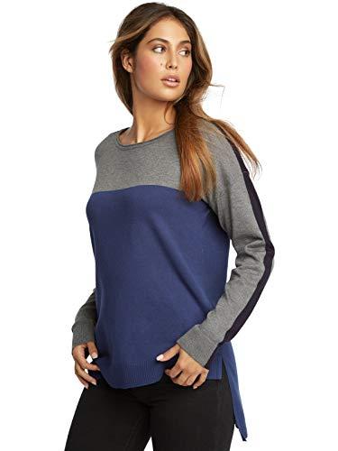 - 89th + Madison Women's Colorblock Asymmetrical Hem Crewneck Sweater