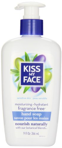 Kiss My Face Moisture Liquid Hand Soap, Fragrance Free, 9 Ounce Pumps (6 pack)