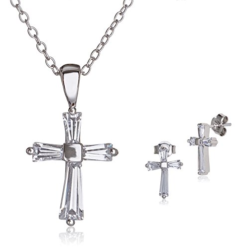 Baguette Cross Set - SilverLuxe Womens Sterling Silver & Cubic Zirconia Baguette Cross Pendant Necklace & Earring Jewelry Set